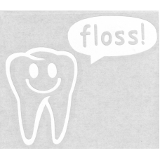 "Flossy with text bubble ""floss!"""